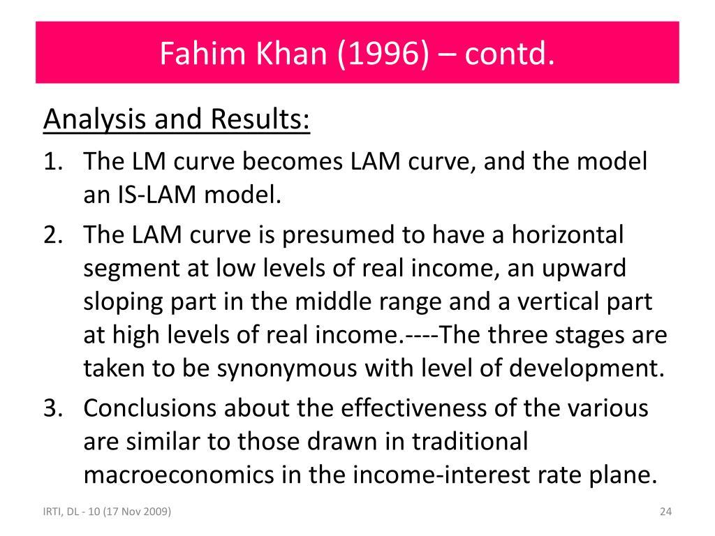 Fahim Khan (1996) – contd.