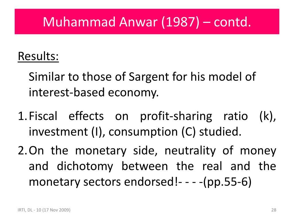 Muhammad Anwar (1987) – contd.