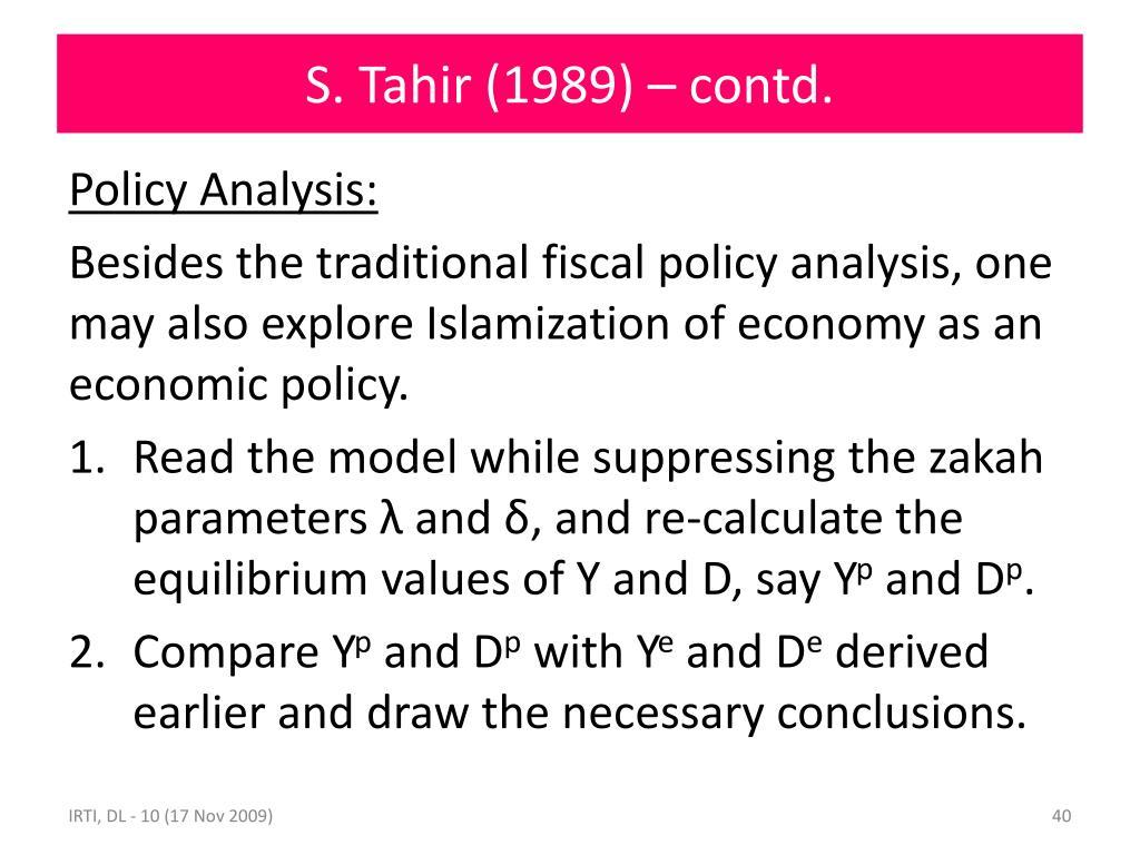 S. Tahir (1989) – contd.