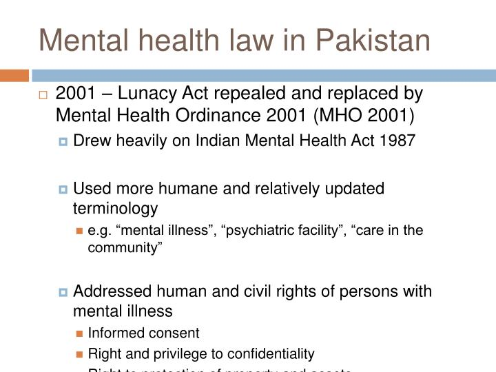 Mental health law in pakistan
