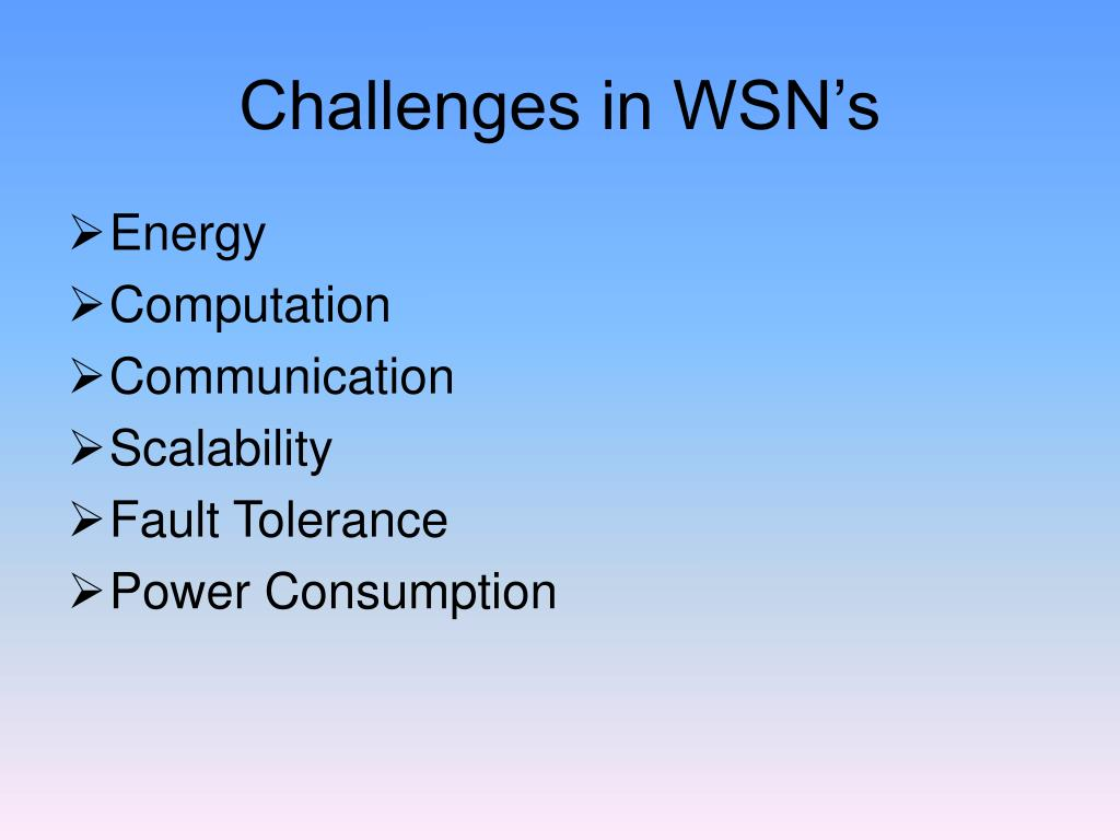 Challenges in WSN's