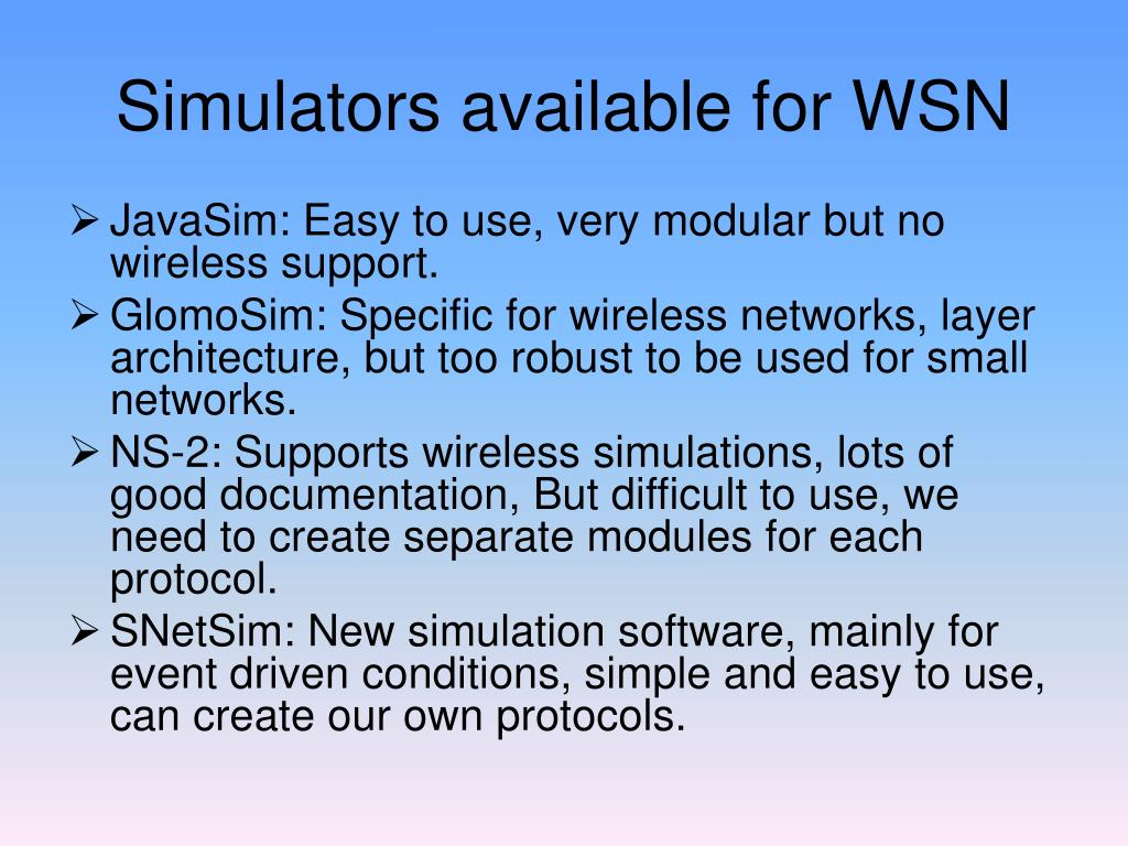 Simulators available for WSN