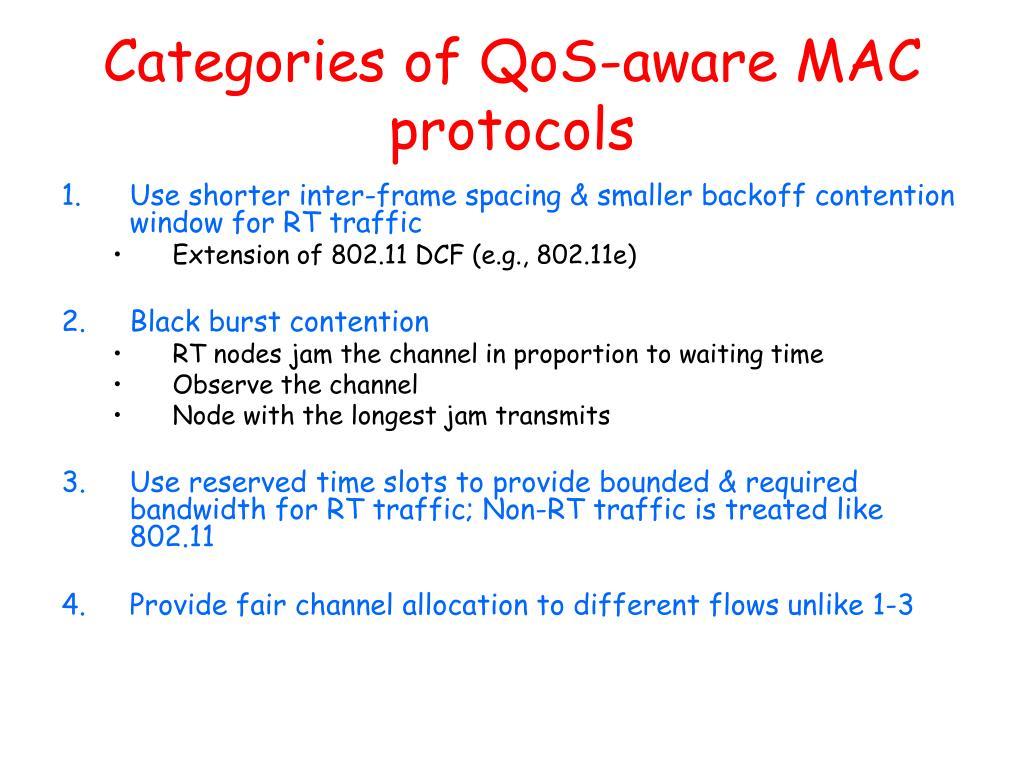 Categories of QoS-aware MAC protocols