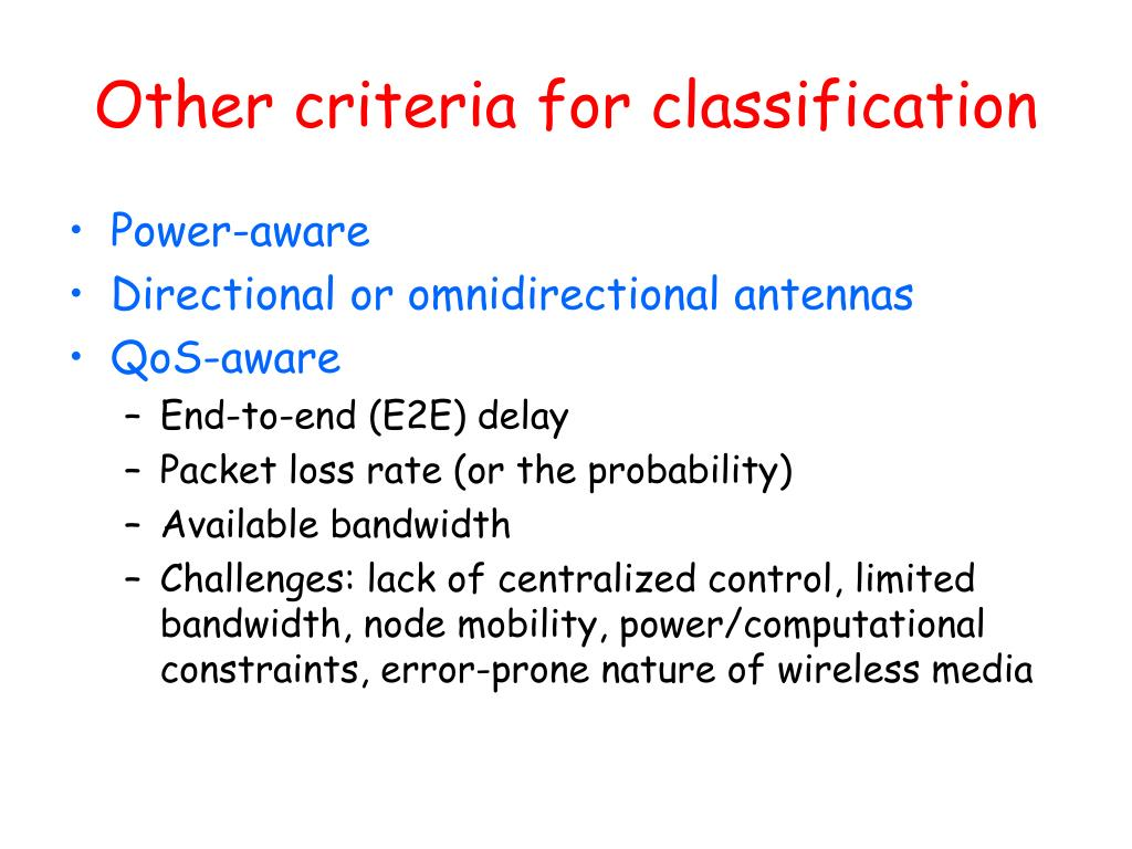 Other criteria for classification