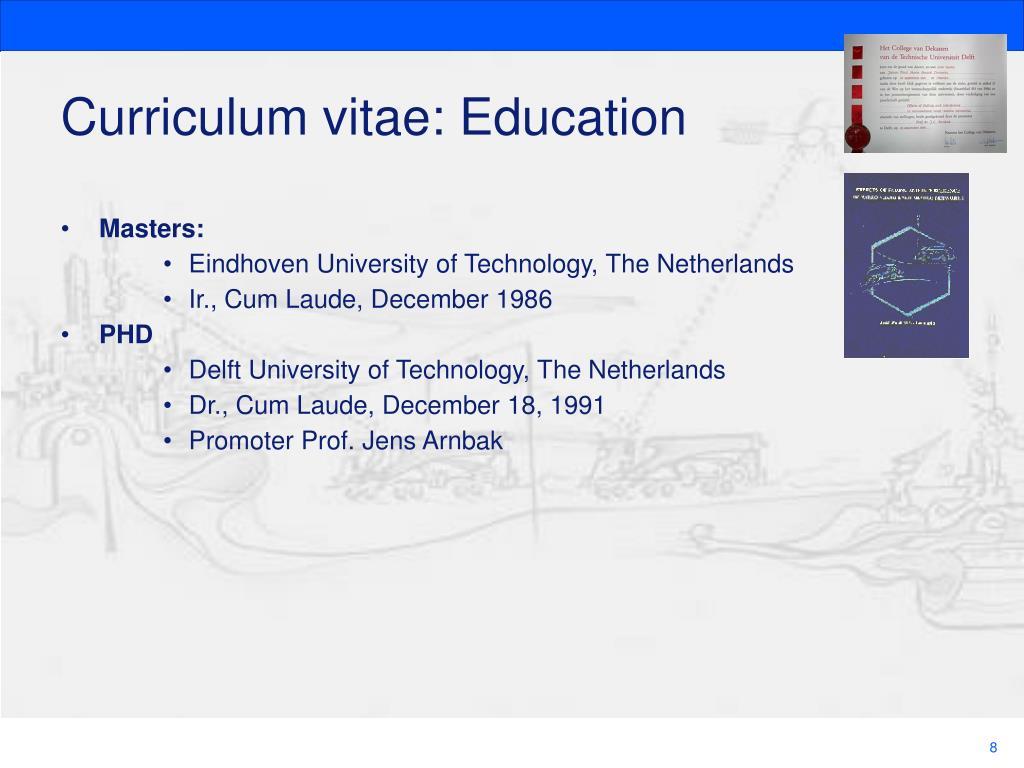 Curriculum vitae: Education
