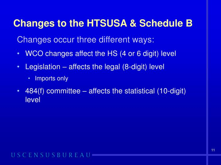 Changes to the HTSUSA & Schedule B