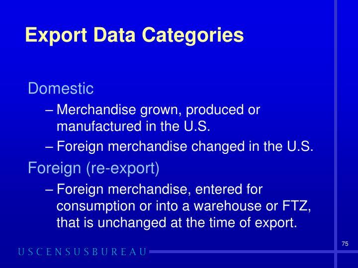 Export Data Categories