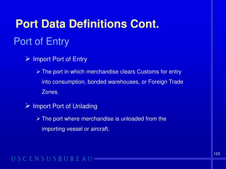 Port Data Definitions Cont.