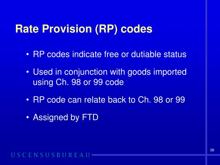 Rate Provision (RP) codes