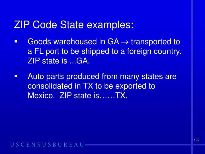 ZIP Code State examples: