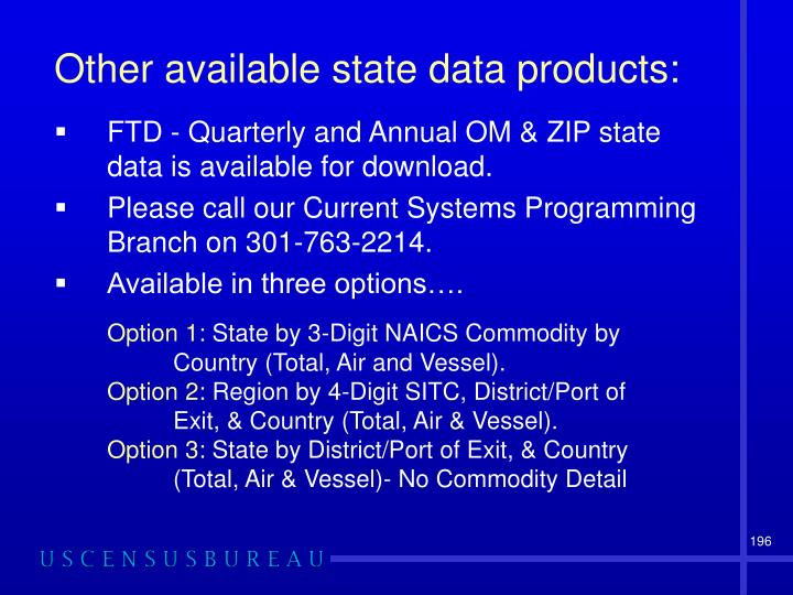 Other available state data products: