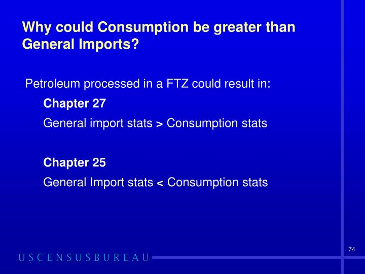 Why could Consumption be greater than General Imports?