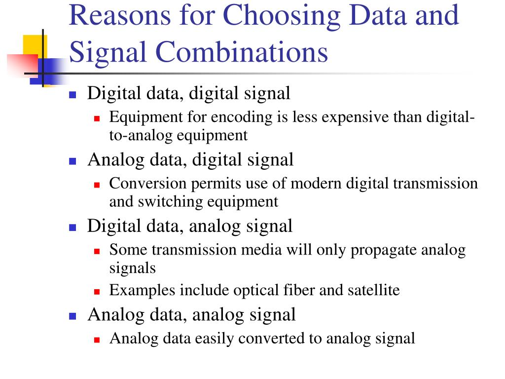 Reasons for Choosing Data and Signal Combinations