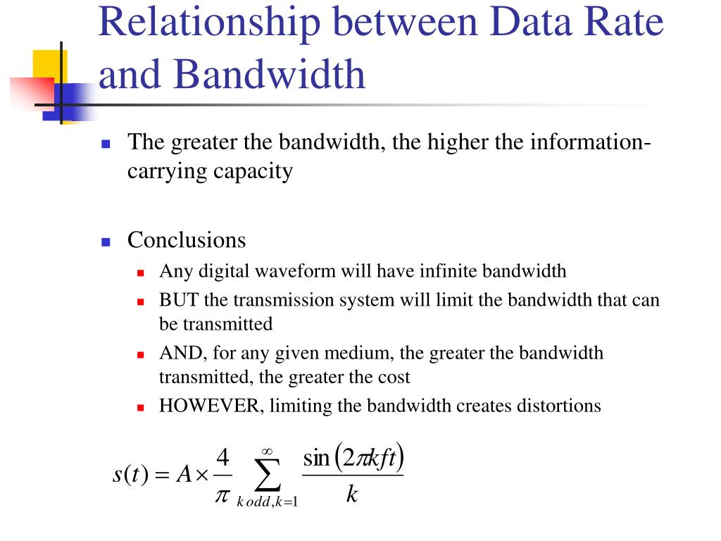 Relationship between Data Rate and Bandwidth