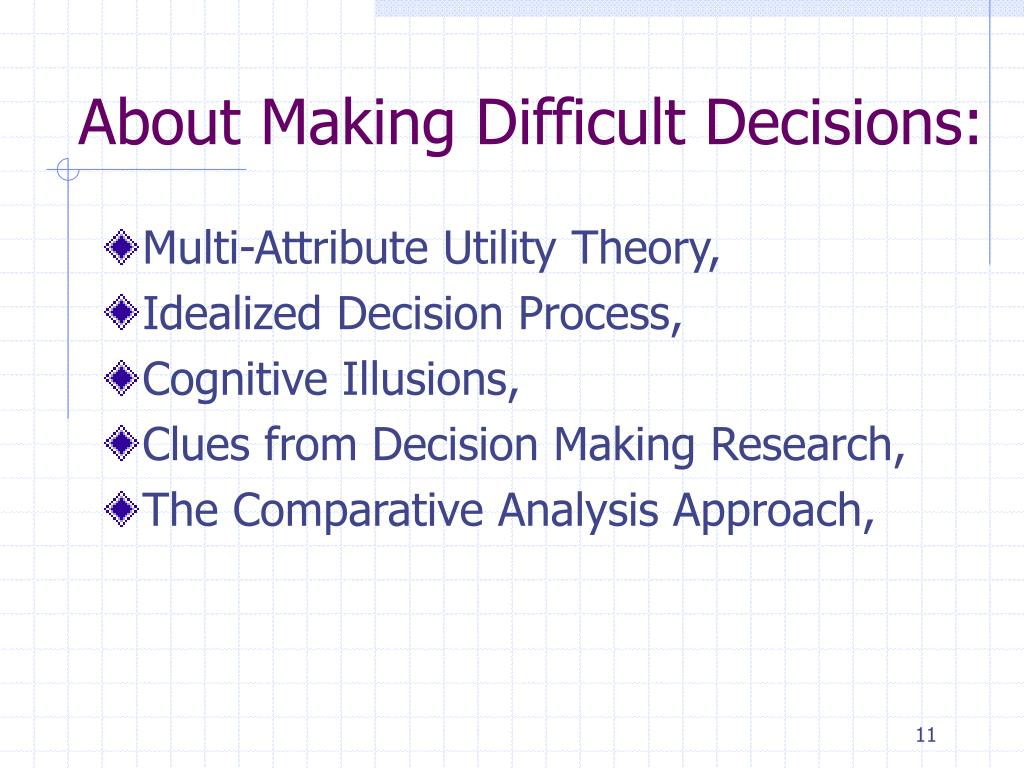 About Making Difficult Decisions: