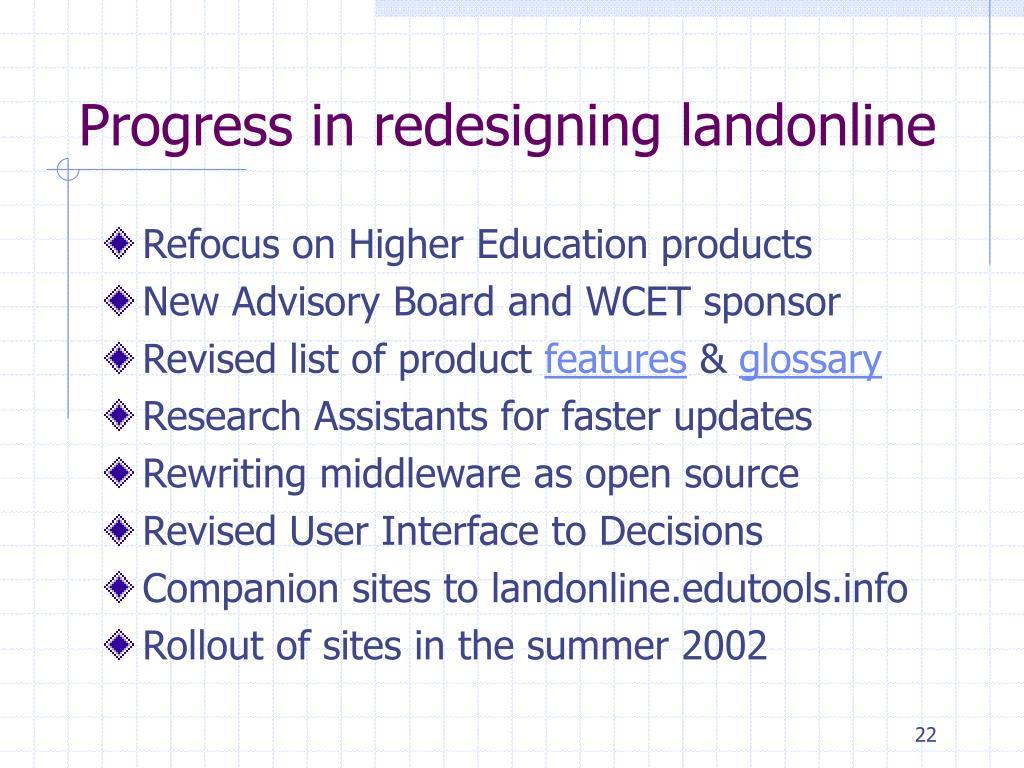 Progress in redesigning landonline