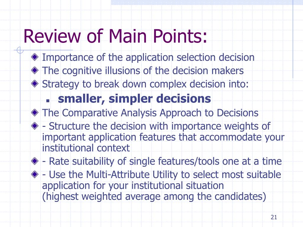 Review of Main Points: