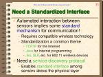 need a standardized interface