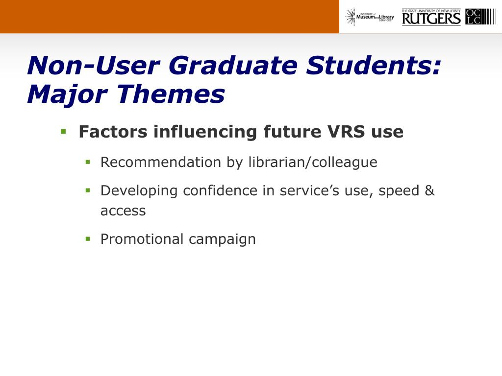 Non-User Graduate Students: Major Themes