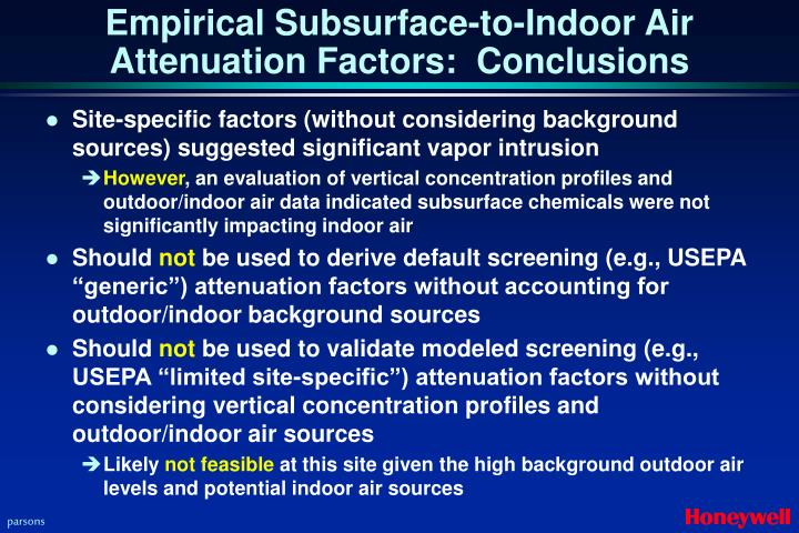 Empirical Subsurface-to-Indoor Air Attenuation Factors:  Conclusions