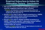 empirical subsurface to indoor air attenuation factors conclusions