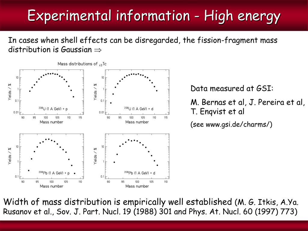 Experimental information - High energy