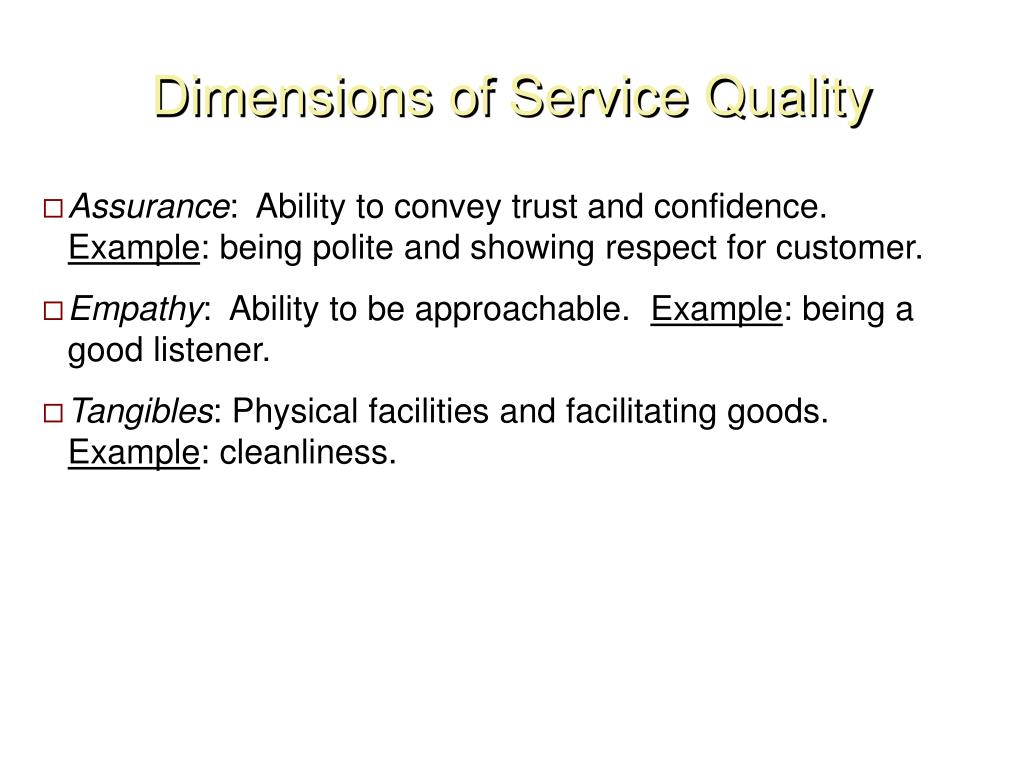 Dimensions of Service Quality