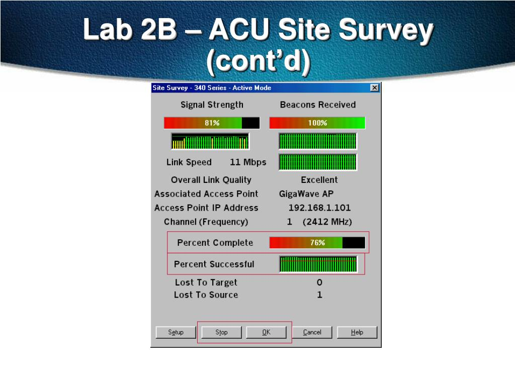 Lab 2B – ACU Site Survey (cont'd)