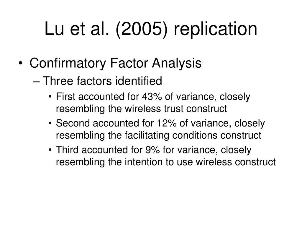 Lu et al. (2005) replication