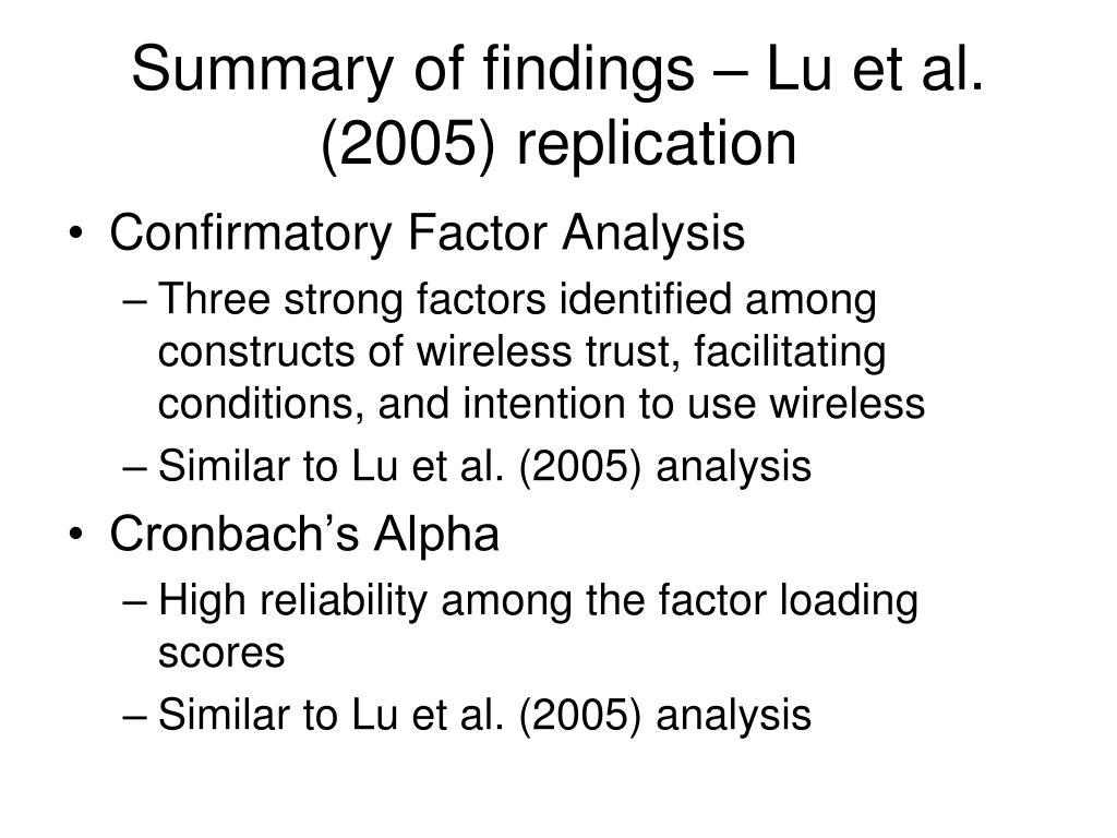 Summary of findings – Lu et al. (2005) replication