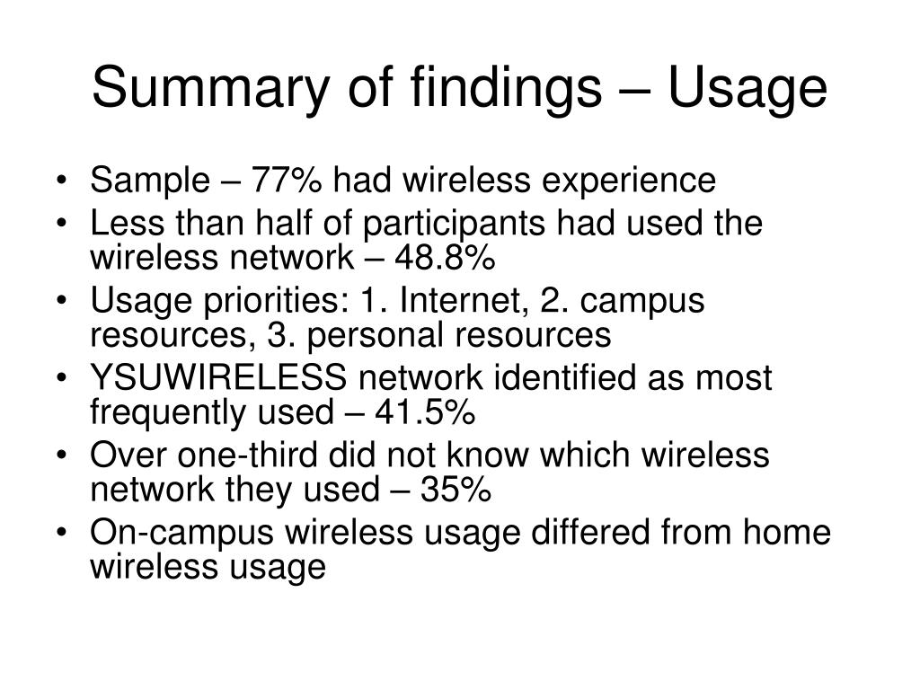 Summary of findings – Usage