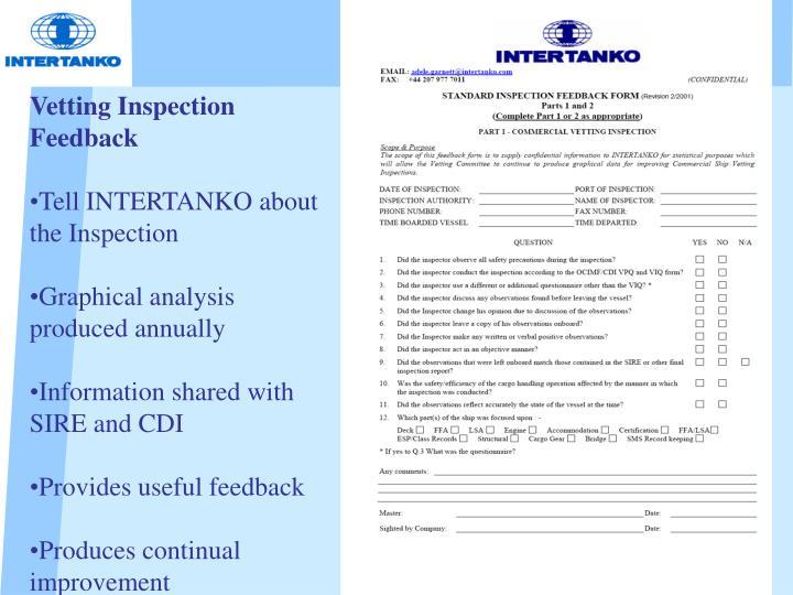Vetting Inspection Feedback