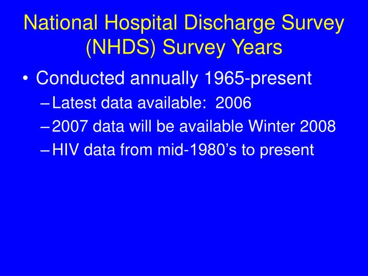 National Hospital Discharge Survey (NHDS) Survey Years