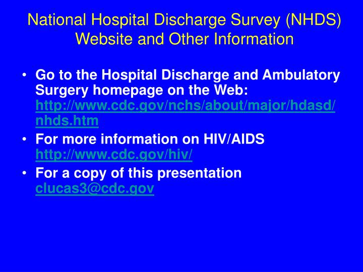 National Hospital Discharge Survey (NHDS)