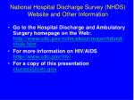 national hospital discharge survey nhds website and other information
