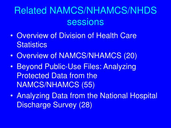 Related namcs nhamcs nhds sessions