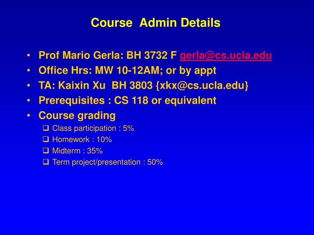 Course  Admin Details