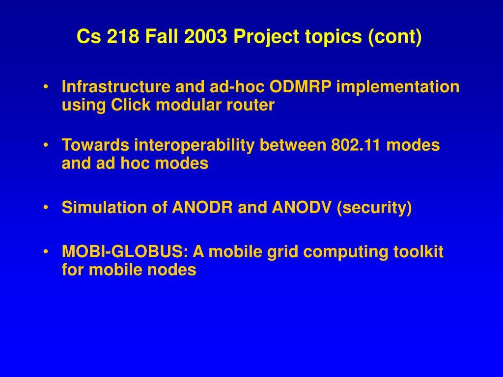Cs 218 Fall 2003 Project topics (cont)
