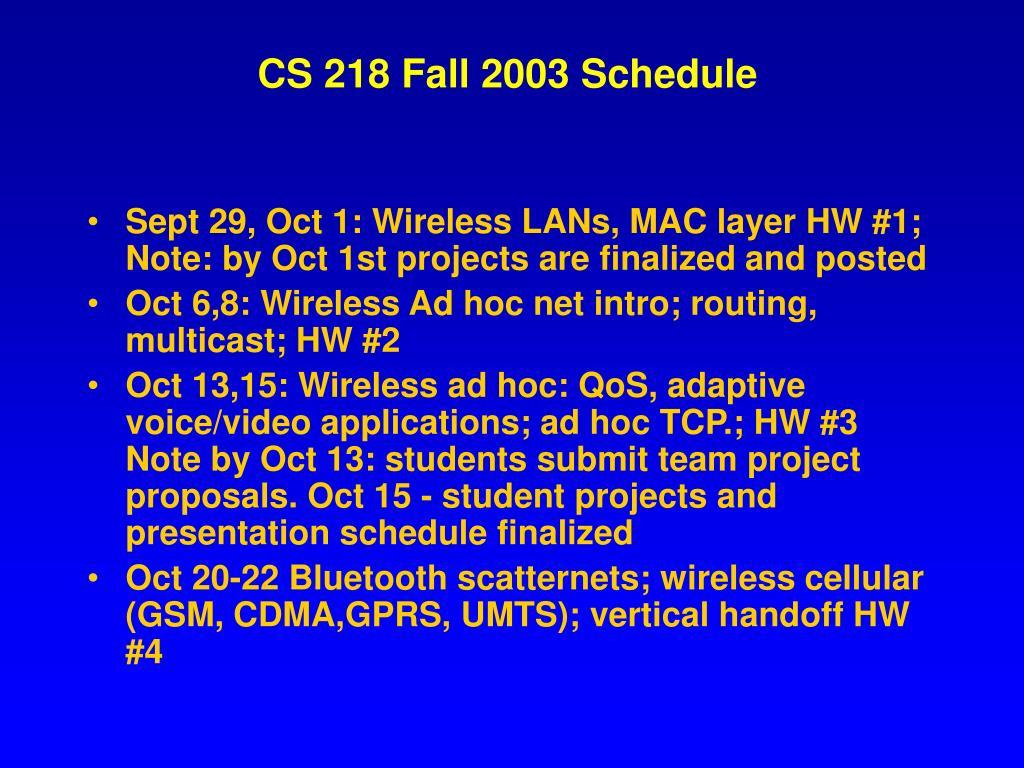 CS 218 Fall 2003 Schedule