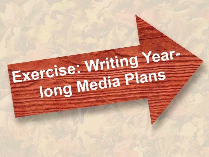 Exercise: Writing Year-long Media Plans
