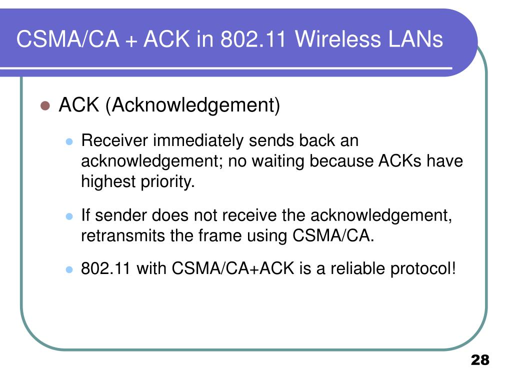 CSMA/CA + ACK in 802.11 Wireless LANs