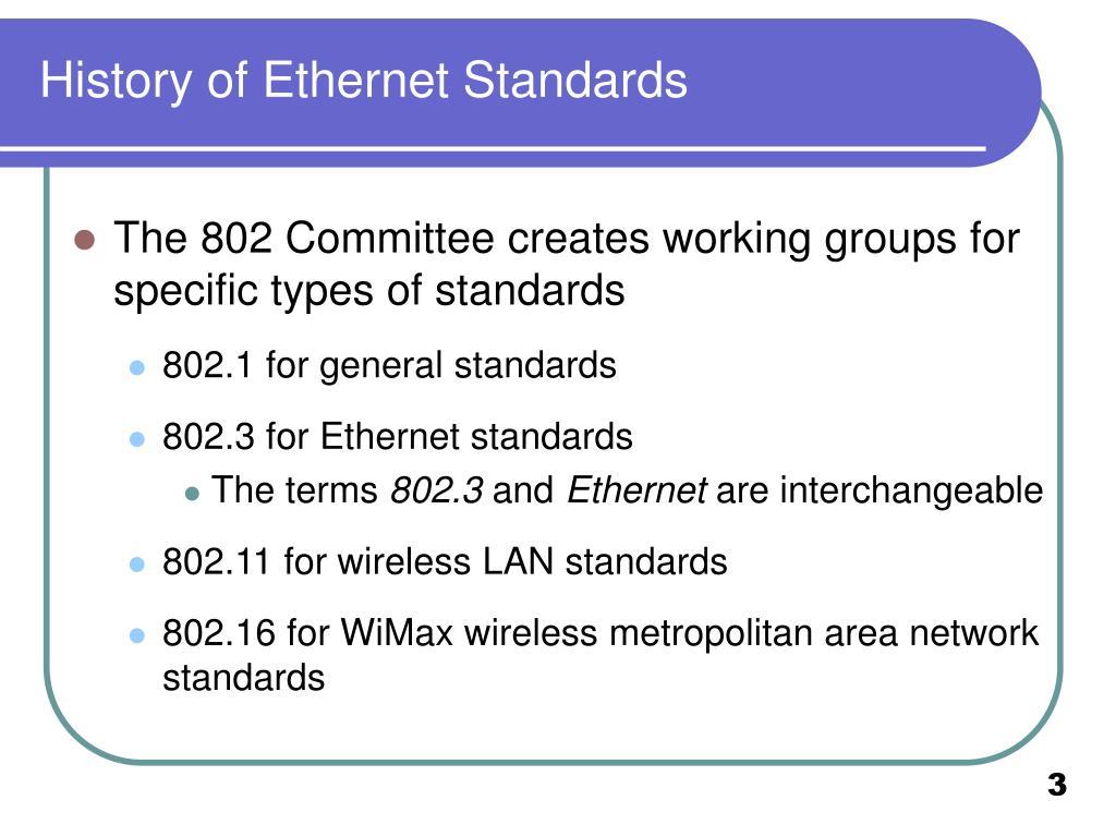 History of Ethernet Standards