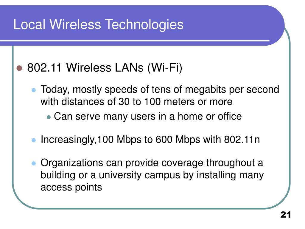Local Wireless Technologies