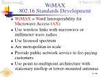 wimax 802 16 standards development