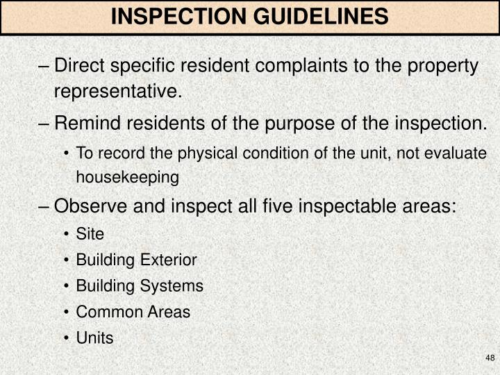 INSPECTION GUIDELINES