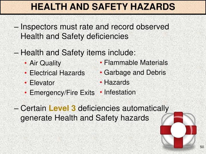 HEALTH AND SAFETY HAZARDS