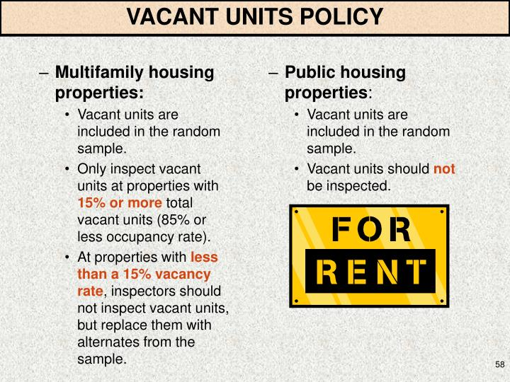 VACANT UNITS POLICY