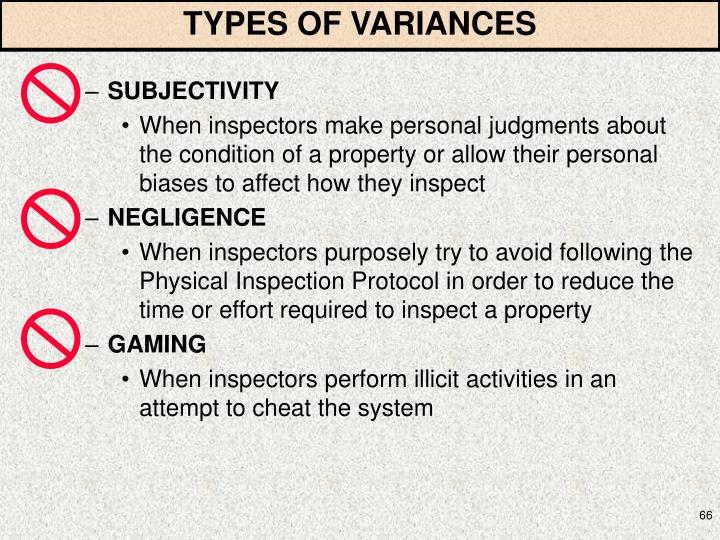 TYPES OF VARIANCES
