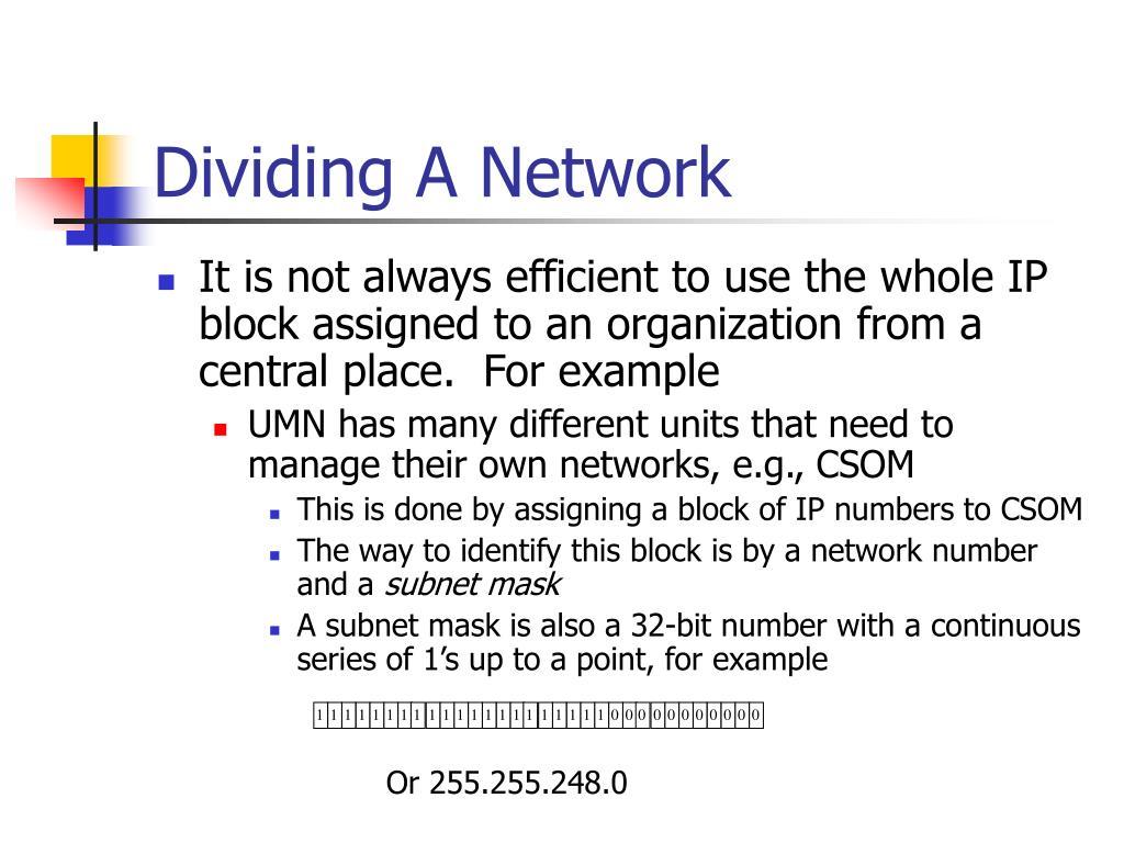 Dividing A Network