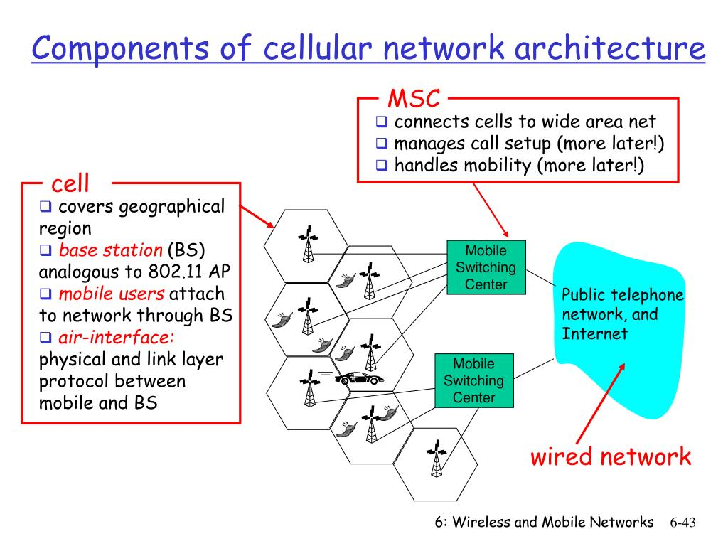 connects cells to wide area net